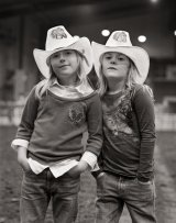 Twin girls Rodeo cowboy hats