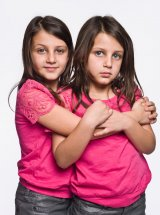 Twin Girls studio portrait